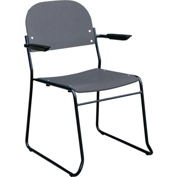 TREND stol med armlæn - mellemgrå bejdse